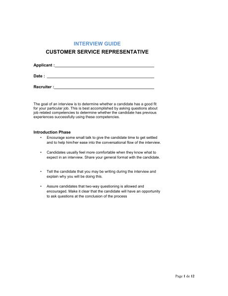 Interview Guide Customer Service Representative - Template ...