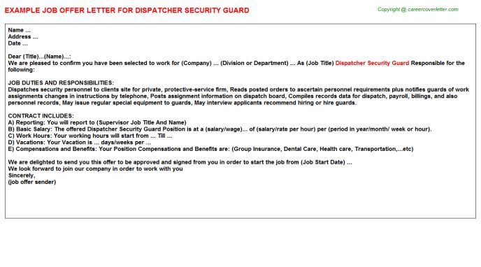 Dispatcher Security Guard Offer Letter