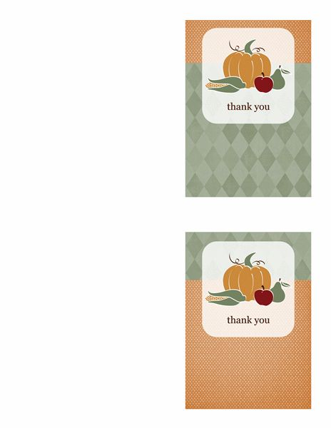 Thank you cards (Harvest design, 2 per page) - Office Templates