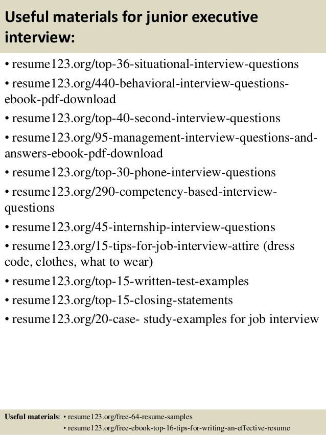 Top 8 junior executive resume samples
