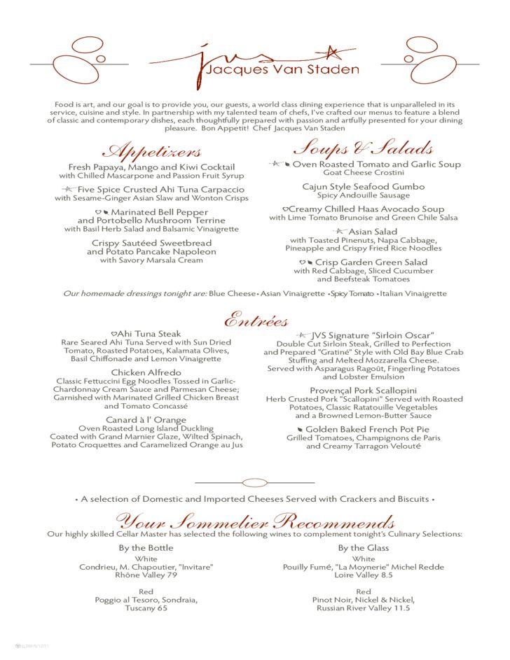 Sample Formal Dinner Menu Template Free Download