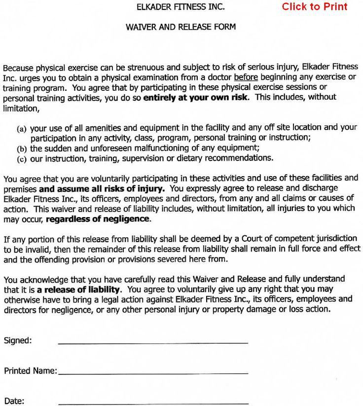 Sample Medical Waiver Form. Printable Sample Release And Waiver Of ...