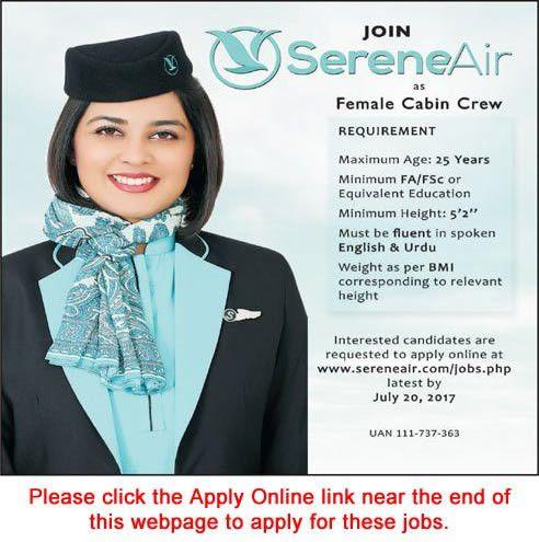 Serene Air Hostess Jobs 2017 July Apply Online Female Cabin Crew ...