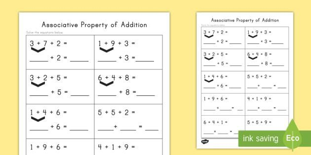 Associative Property of Addition Practice Activity - Associative