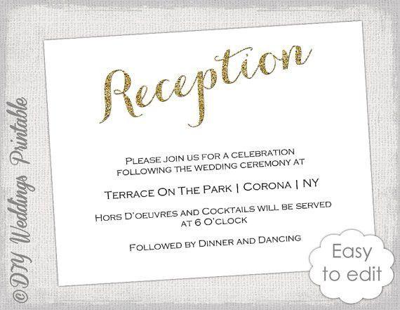 Wedding Reception invitation template DIY Gold