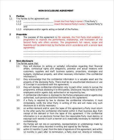 Standard Non-Disclosure Agreement Samples - 9+ Free Documents in ...