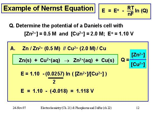 Example of Nernst Equation