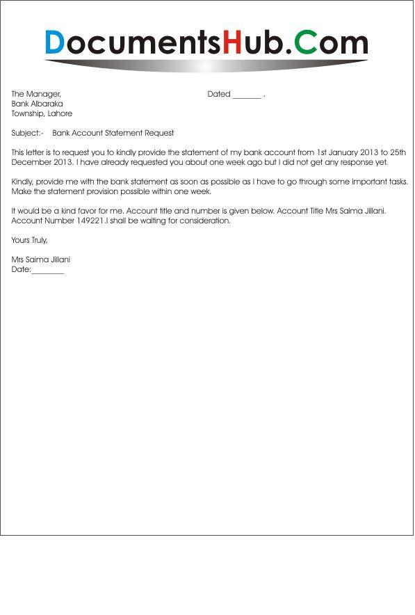 Sample Letter Format for Bank Statement