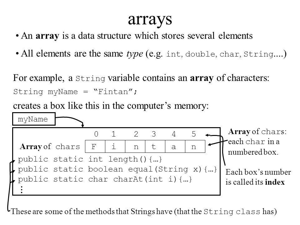 Arrays Liang, Chpt 5. arrays Fintan Array of chars For example, a ...