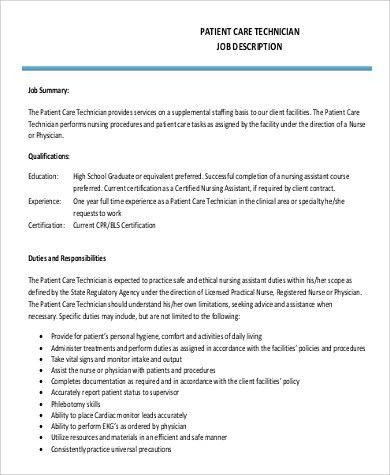 Patient Care Technician Job Description Sample - 9+ Examples in PDF
