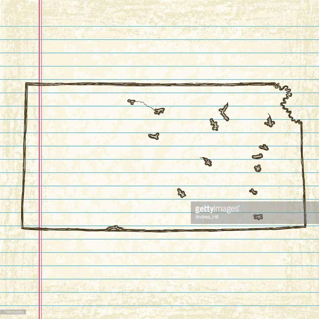 Vector Sketchy Map On Old Lined Paper Background Kansas Vector Art ...