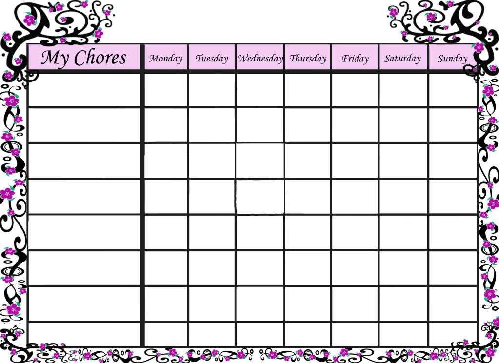 Free Blank Chore Charts Templates   family chore chart template ...