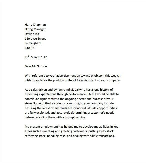 Sample Retail Cover Letter Template - 9+ Download Free Documents ...
