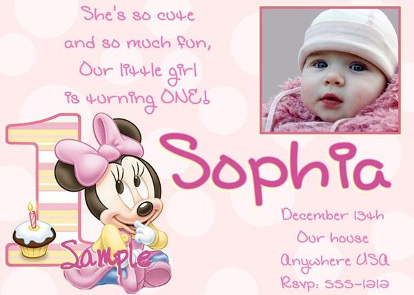 1st Birthday Invitations Girl Free Template : Baby Girl's 1st ...
