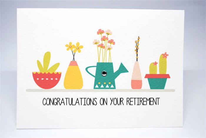 Retirement Card - Pot Plants - OYR010 / Congratulations on your ...
