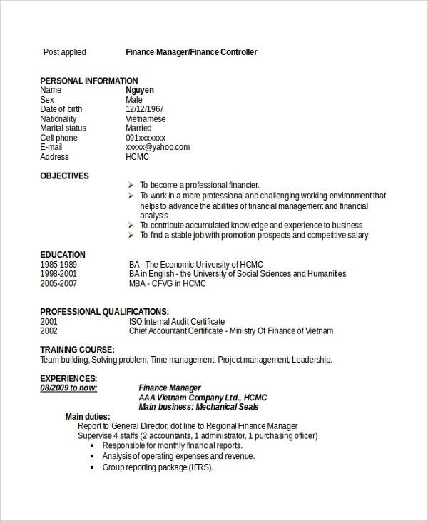 Sample Finance Resume Template - 7+ Free Documents Download in PDF ...
