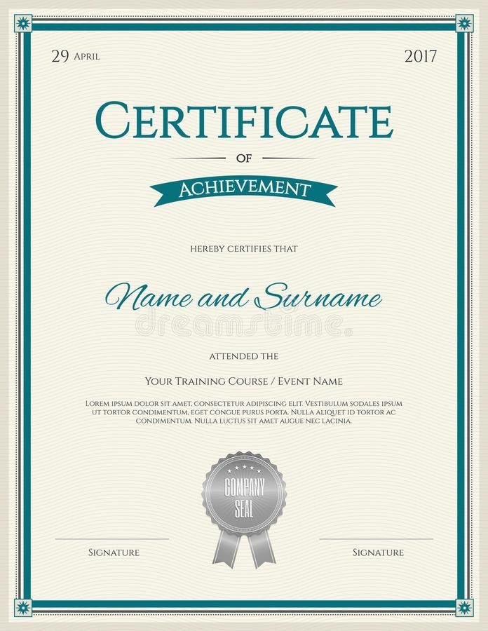 Certificate Of Achievement Template In Vector Stock Illustration ...