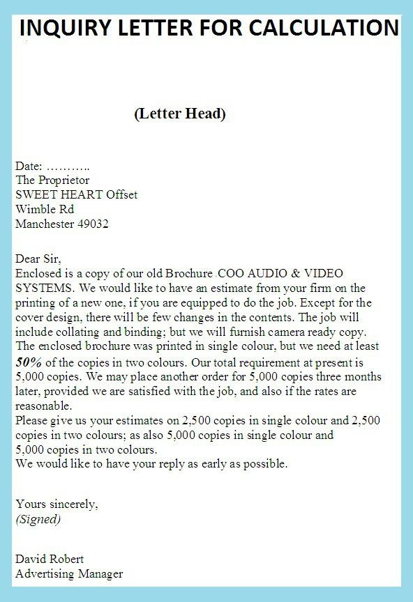 Product Information | business letter examples