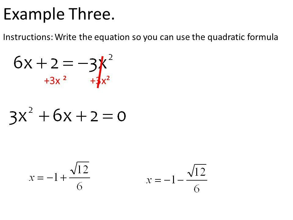 Standard 20 The Quadratic Formula Example with numbers put in ...