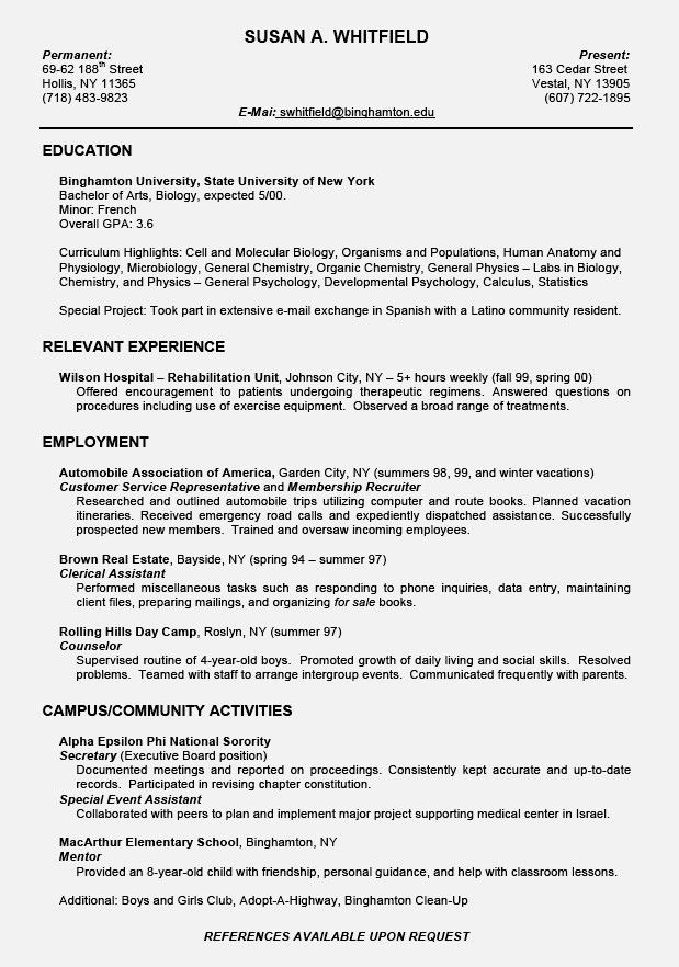 Homely Design Resume Example For College Student 7 Summer Job ...
