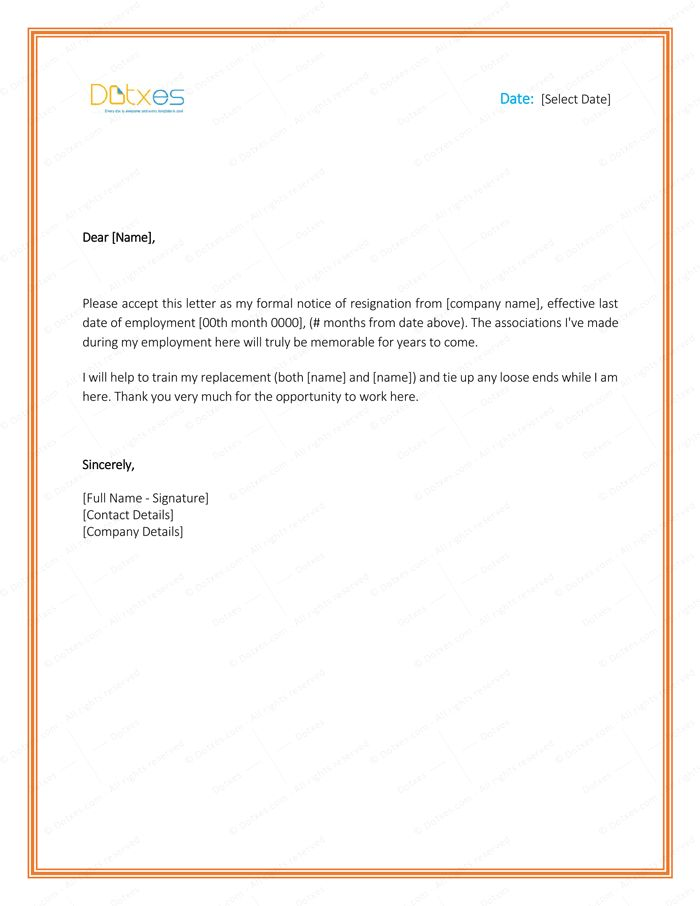 Microsoft Office Resignation Letter Template