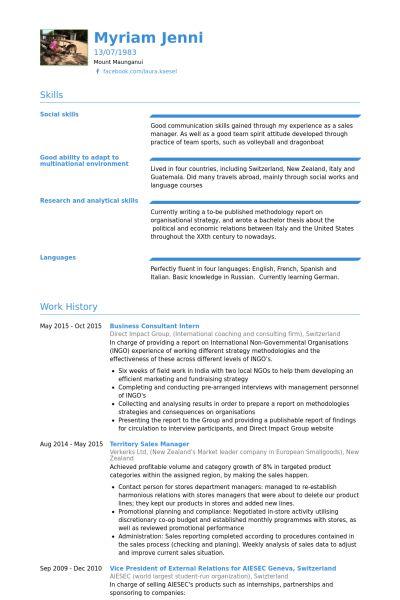 Business Consultant Resume samples - VisualCV resume samples database