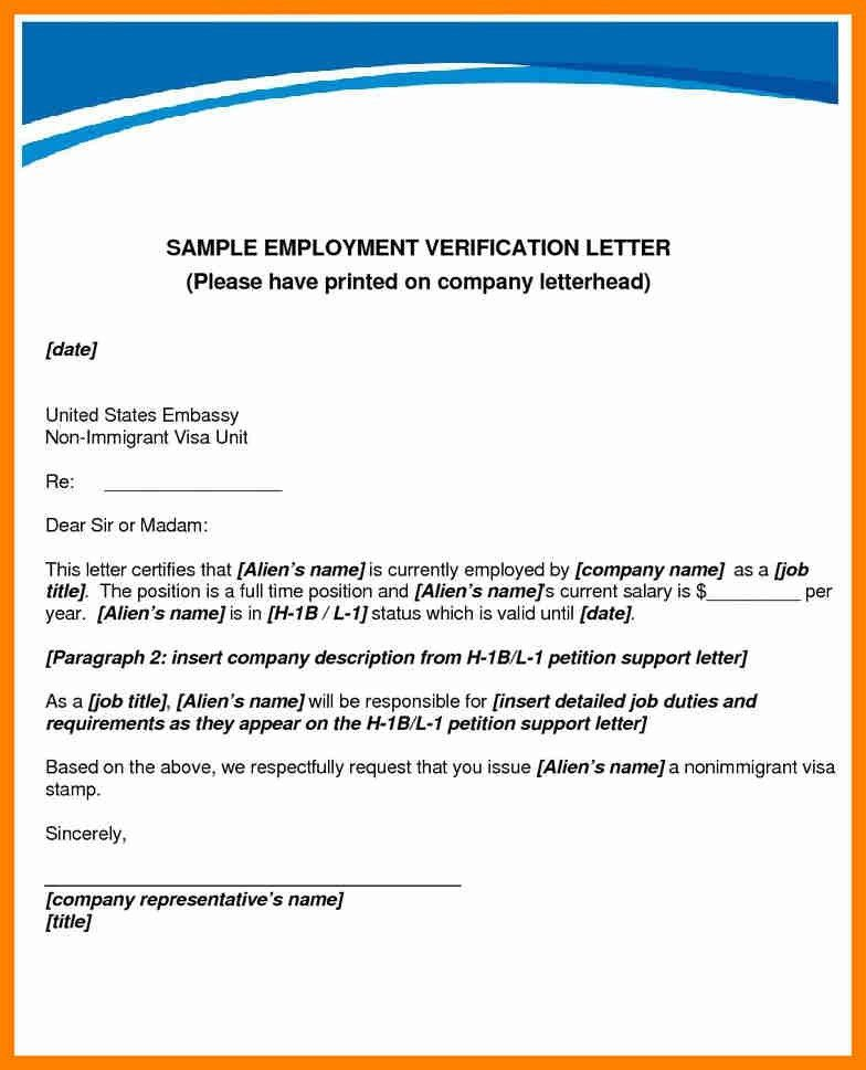 Employment Verification Letter Template For Visa | Manager ...