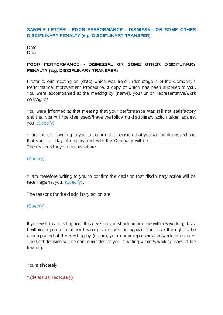 Sample Termination Letter For Poor Performance - Best Letter Sample