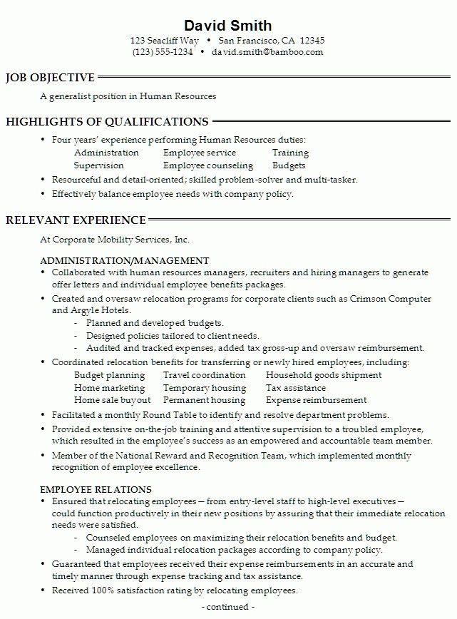 sample cv template hr recruitment. sample human resources ...