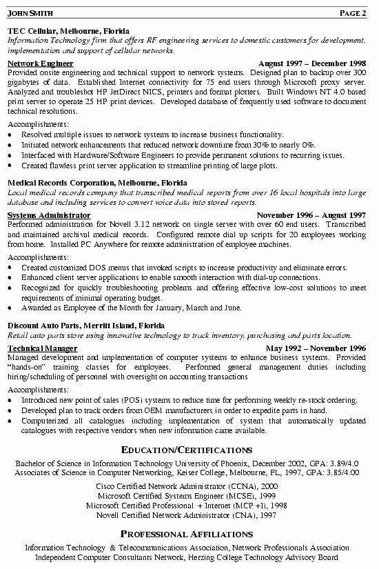 Network Engineer Infrastructure Architect Resume Example : Vinodomia