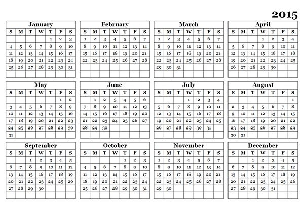 2015 Yearly Calendar Template 09 - Free Printable Templates