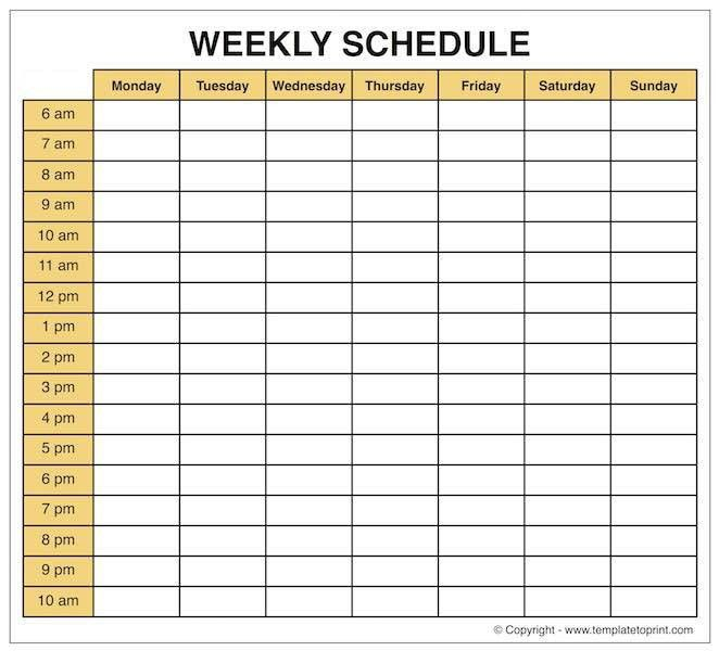 Weekly Calendar Template Printable | Microsoft Word | Excel
