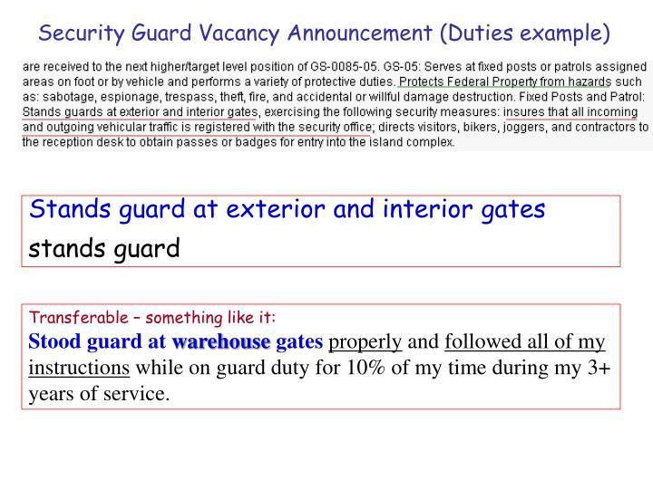 PPT - Security Guard Vacancy Announcement (Duties example ...