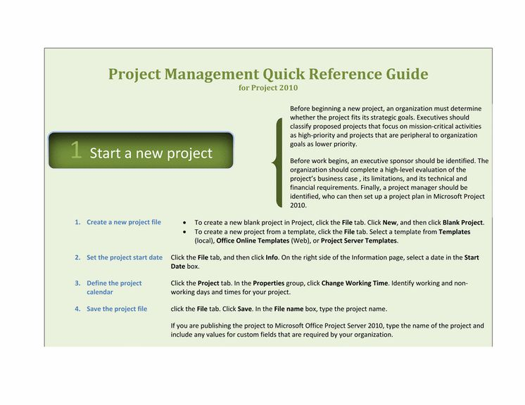 Project 2010 Quick Reference Guide Template For Word 2010 Or Newer ...