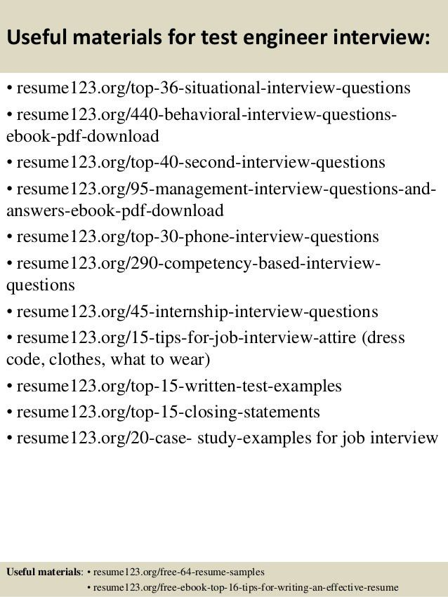 Top 8 test engineer resume samples