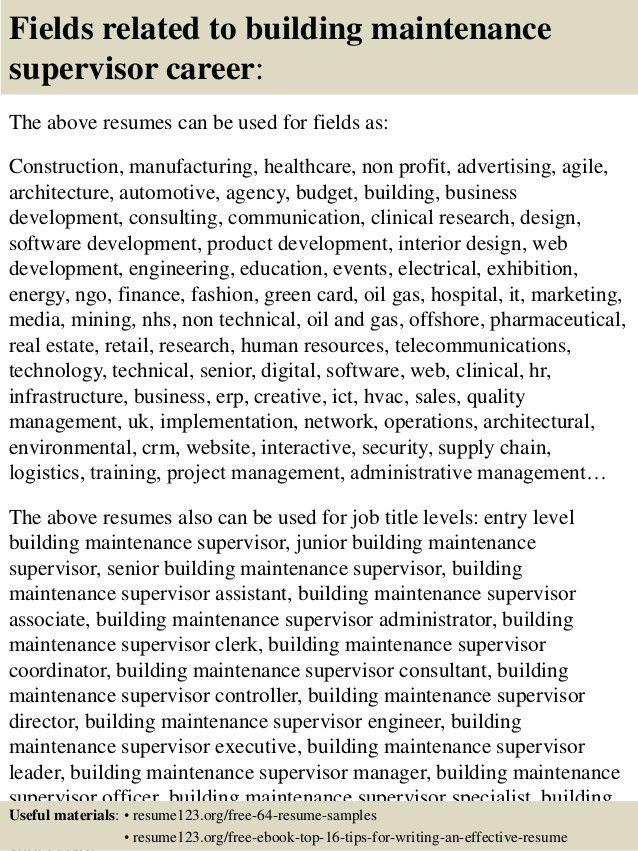 Facility Maintenance Supervisor Resume Sample - Contegri.com