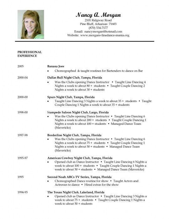 Elegant Resume For Dance Teacher | Resume Format Web