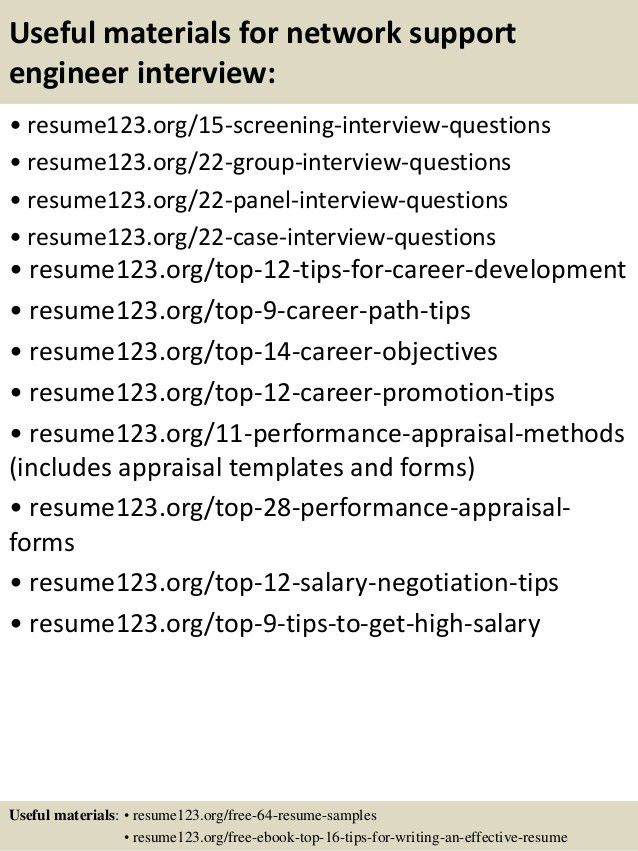 Top 8 network support engineer resume samples