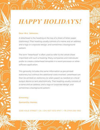 Illustrated Orange Border Pattern Christmas Letterhead - Templates ...