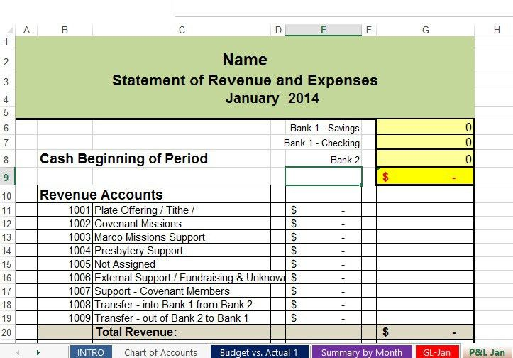 Free Spreadsheets to track Church and Non-Profit Expenses