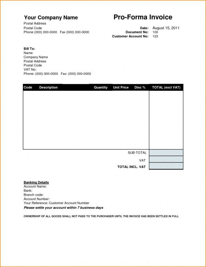 Proforma Invoice Template Word Doc | Design Invoice Template