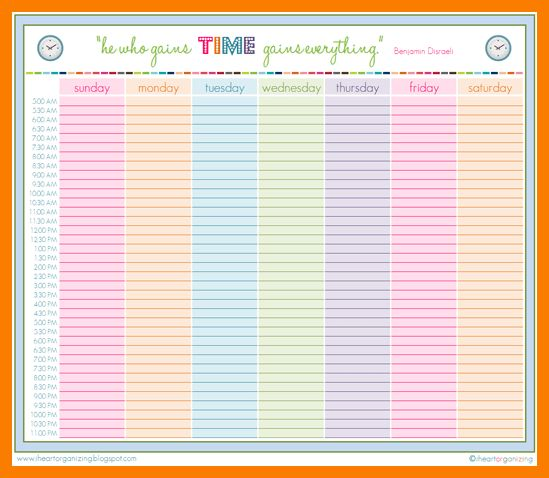 12+ family schedule printable | park-attendant
