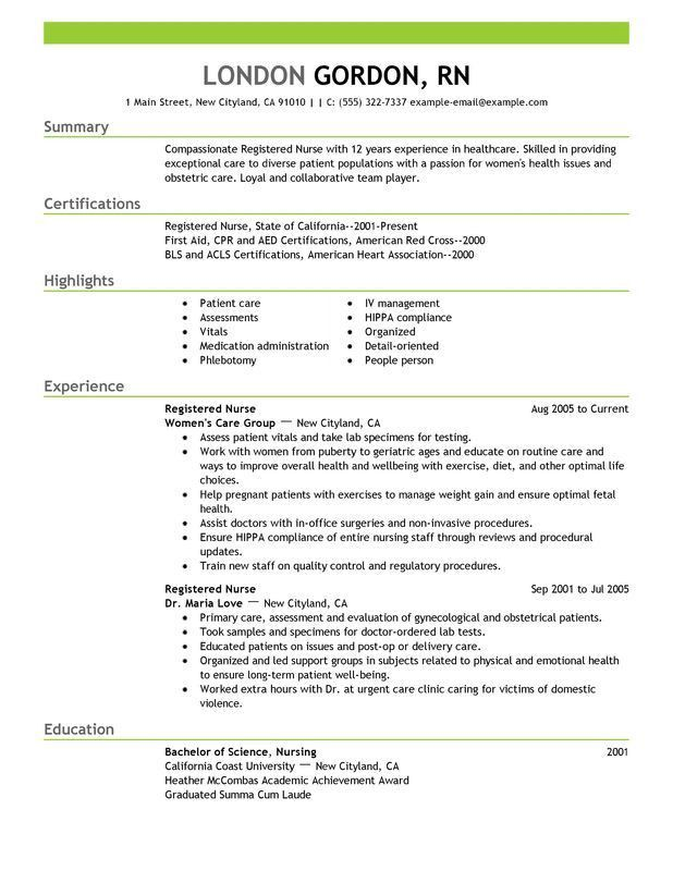 Nursing Resume Samples | Experience Resumes