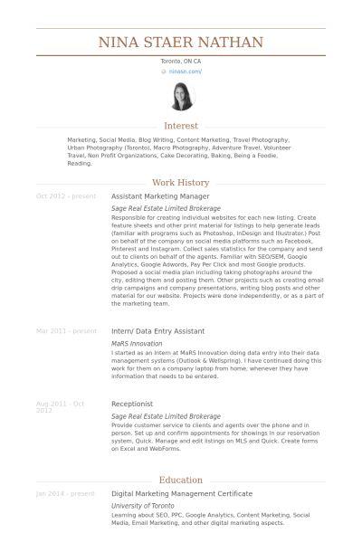 Assistant Marketing Manager Resume samples - VisualCV resume ...