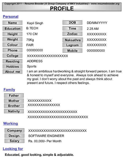 Biodata Form In Word Simple Biodata Format Doc Letterformats ...
