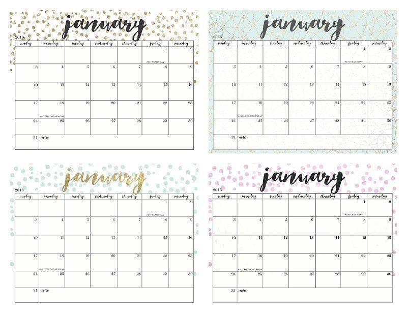 of the prettiest printable 2016 calendars