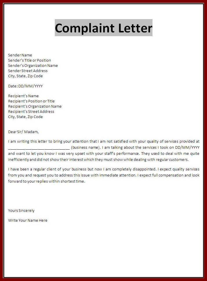 Professional Complaint Letter 12 Complaint Letter To Landlord
