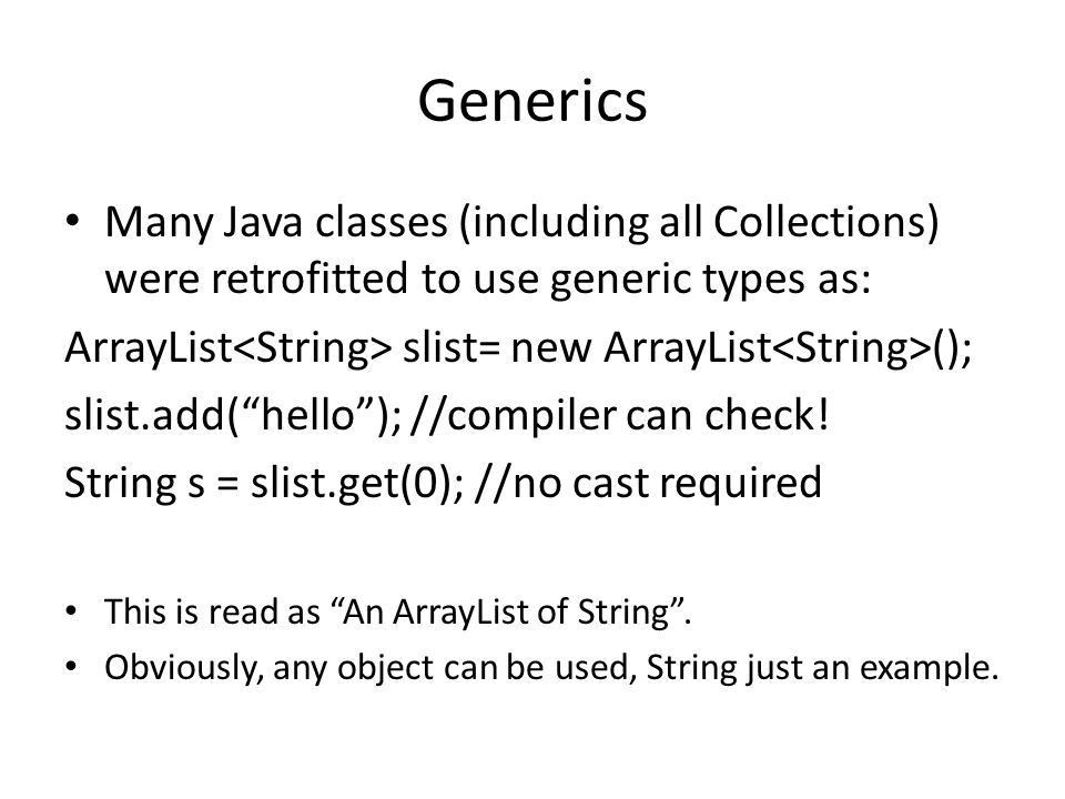 Creating Generic Classes. Introduction Java Generics were added to ...