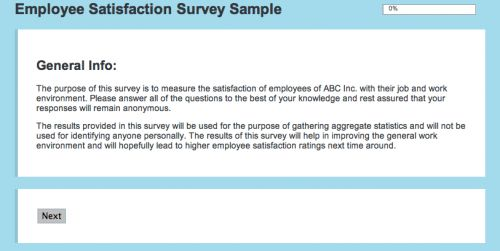 FluidSurveys - Sample Employee Satisfaction Survey