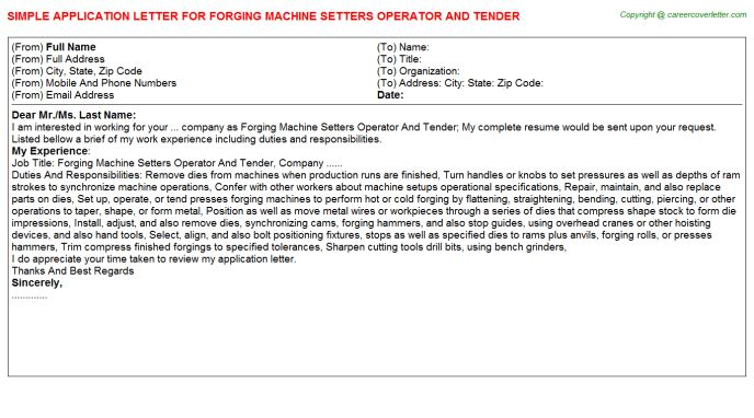 Forging Machine Setters Operator And Tender Application Letter